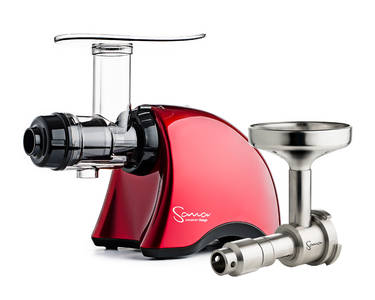 Sana EUJ-707 juicer plus oil extractor set red side
